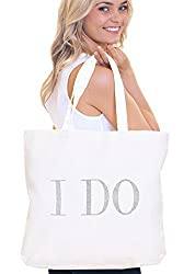 White I Do Diamond Motif Rhinestone Totes