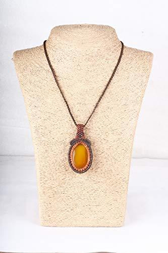 Handmade Macrame Necklace Chick Pendant Jewelry Chrysocolla Stone Cord Bohemian
