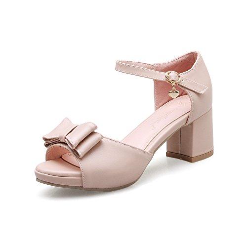 Al Bloque Tobillo Peep Pink De amp;x Qin Tacones Sandalias Toe Mujer 8a5qwnzR
