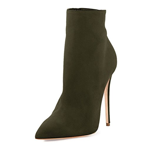 VOCOSI Women's Closed Pointed Toe Booties Stilettos High Heels Dress Ankle Boots Shoes Olive(faux Suede) VhVEC