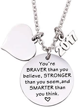Melix Home Graduation Gift Stainless Steel You are Braver Than You Believe Necklace 2017