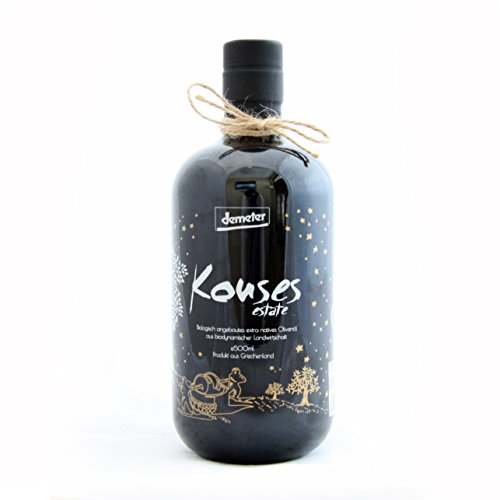 Kouses Estate Sustainable Biodynamic Extra Virgin Olive Oil | Better than Organic | Demeter Certified | Award Winning Single Estate PDO | Product of Crete, Greece | 16.9 oz Glass Bottle