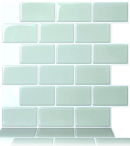 """Premium Anti Mold Peel and Stick Wall Tile in Subway Design (12""""x12"""" 10 sheets, Mist)"""