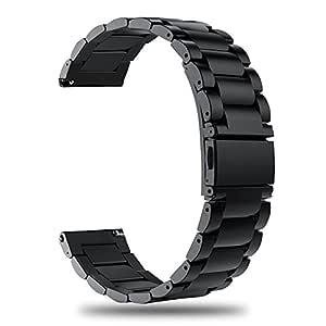 TRUMiRR para Ticwatch Pro Correa de Reloj, 22mm Correa de Reloj de Acero Inoxidable Metal Pulseras de Repuesto para Samsung Gear S3 Classic/Frontier, ...