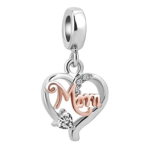 Charmed Craft Heart I Love You Charms World's Best Mom Charms Mother Charm Beads for Snake Chain Bracelet (rose gold plated mom) - Mom Flower Charm