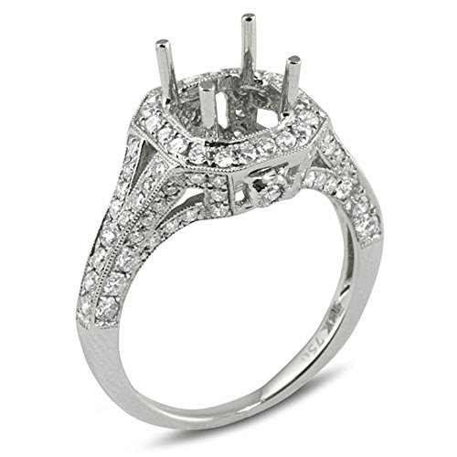 1.04 Carat (Ctw) 18k White Gold Round Diamond Ladies Bridal