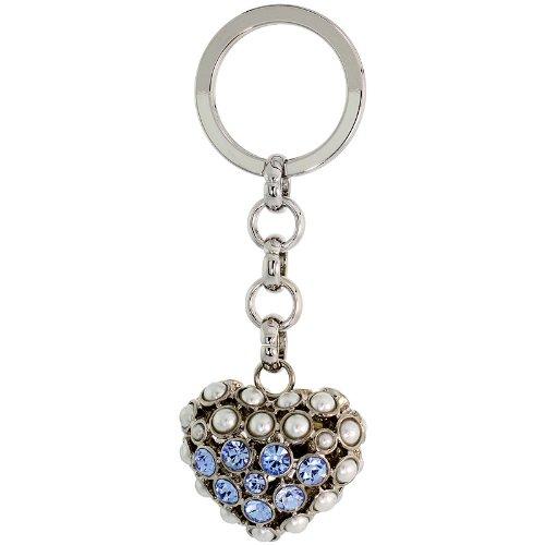 Puffed Heart Key Chain, Key Ring, Key Holder, Key Tag , Key Fob, w/ Beads & Brilliant Cut Blue Topaz-color Swarovski Crystals, 3-1/2'' tall