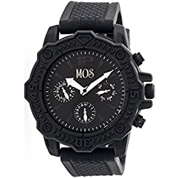 MOS Mens Prague Multi-Function Silicone Strap Watch Black Bezel, Black/Circle-shaped Case,