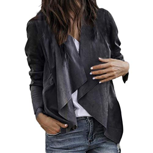 (2018 Autumn Women Faux Suede Leather Duster Style Short Suit Jacket Biker Ladies Blazer Cardigan Office Coat (XL, Dark Gray))