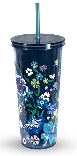 Vera Bradley Acrylic Insulated Travel Tumbler with Reusable Straw, 24 Ounces, Moonlight Garden