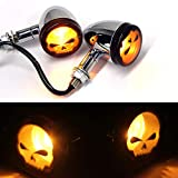 2pcs Skull Amber Lens Motorcycle LED Turn signal Lights Indicators Blinkers Lamp-Chrome