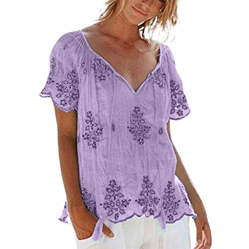 Sunhusing Women's Large Size V-Neck Strappy Embroidered Flower Print Short Sleeve Top Casual T-Shirt Purple