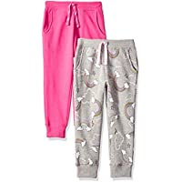 Spotted Zebra Girls' 2-Pack Fleece Jogger Pants