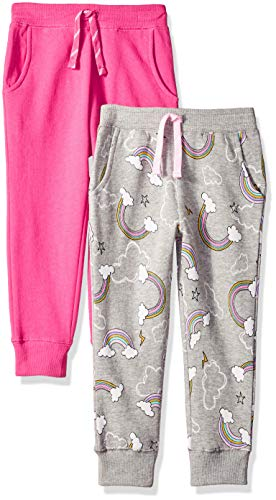 Amazon Brand - Spotted Zebra Girls' Big Kid 2-Pack Fleece Jogger Pants, Rainbows/Pink, Medium (8)
