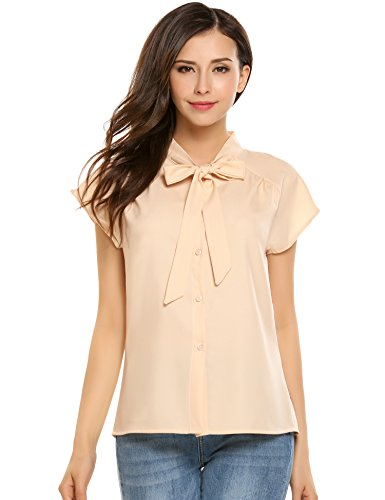 - Meaneor Womens Short Sleeve Bow Tie Neck Chiffon Blouse Tops