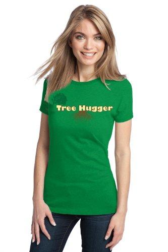 TREE HUGGER Ladies' T-shirt / Green Environmental Activist Earth Hippy Pride Tee