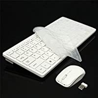 Alment 2.4GHz Wireless Keyboard Mouse Combo Ultra-Thin Mini Computer Wireless Keyboard+Cover+Mouse Kit Gaming Keypad for Laptop PC