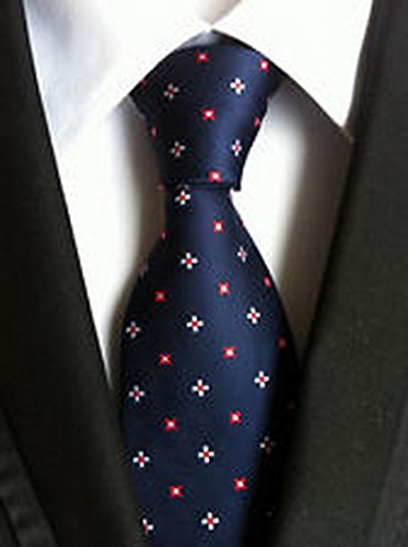 MINDoNG Necktie Pattern Red Blue Dots Flower JACQUARD WOVEN Men's Tie GAG # 33276
