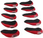10pcs Black Red Iron Wedge Neoprene Golf Club Protective Head Cover Headcovers