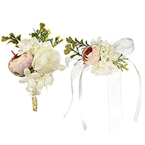 DearHouse 2Pcs Peony Boutonniere Buttonholes and Wrist Corsage Wristband Roses Wrist Corsage, Groom Groomsman Best Man and Girl Brides Wedding Flowers Accessories Prom Suit Decoration 69