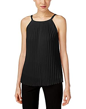 Calvin Klein Rich Women's Pleated Knit Cami Blouse Black XL