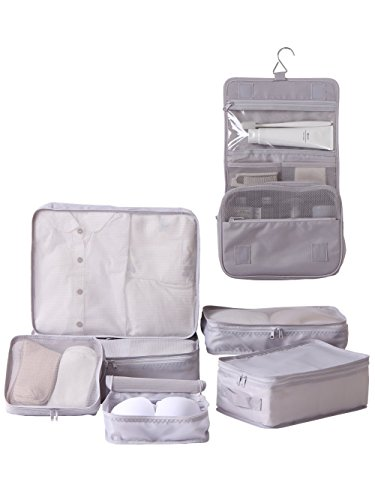 Travel Packing Cubes 7 Set, JJ POWER Luggage Organizers with toiletry kit shoe bag (Gray)