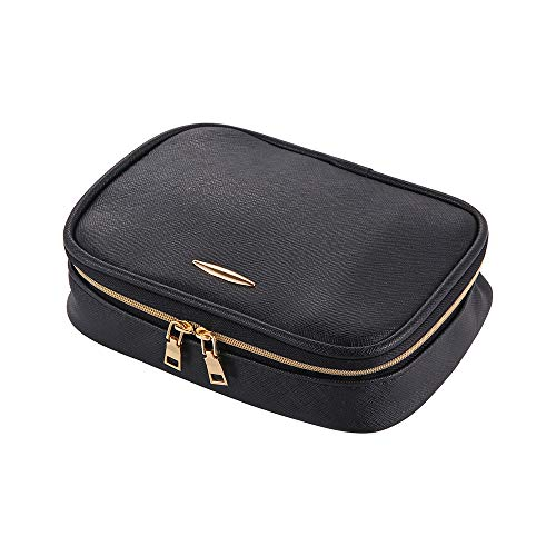 Travel Jewelry Organizer Bag Case Fashion Holder Rolls PU Leather Box with Zipper Women Jewelry Portfolio Bags Necklace and Earring Drawer Storage Small Pouch (Black)