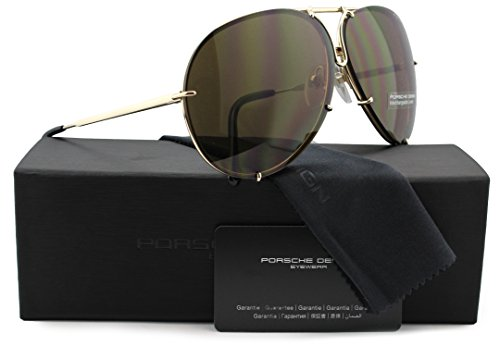 Porsche Design P8478 A Aviator Sunglasses Light Gold w/Crystal Brown and Blue Silver Mirror (V604) 8478 66mm - 8478 Sunglasses Porsche