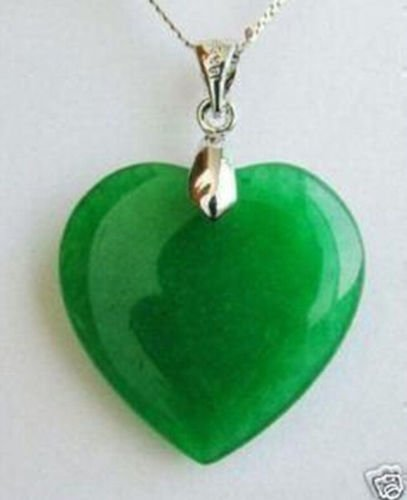 Small 16mm - Green Jade Heart Shape Silver emerald Pendant Fashion Jewelry
