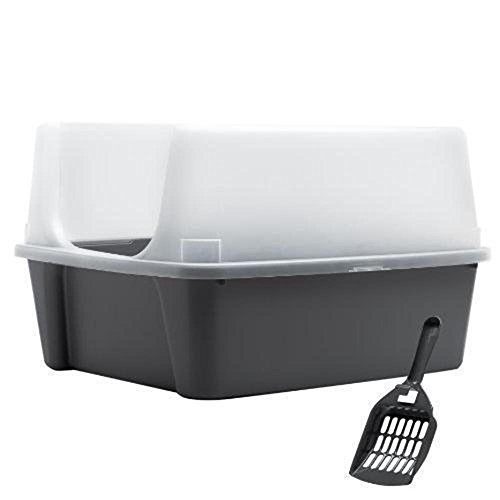 Cat Supplies IRIS Open Top Cat Litter Box Kit with Shield and Scoop, Gray New