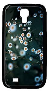 Brian114 Samsung Galaxy S4 Case, S4 Case - Cool Black Back Hard Case for Samsung Galaxy S4 I9500 White Little Daisy Design Hard Snap-On Cover for Samsung Galaxy S4 I9500