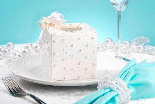 12 DAVID TUTERA CUPCAKE BOX White SWISS DOT SILVER SEALS (Cake Dot Swiss)
