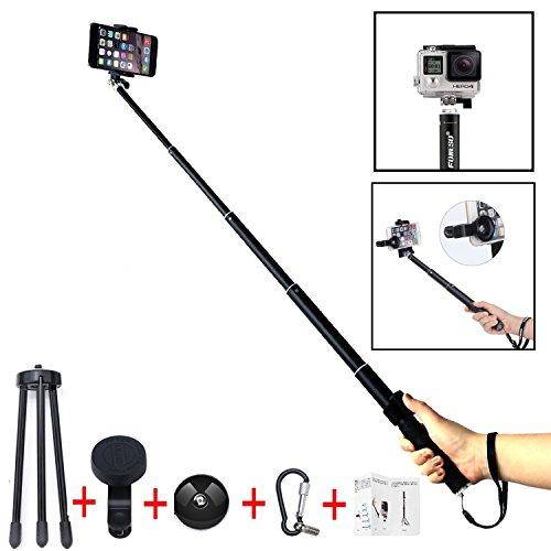 Foneso Bluetooth Selfie Stick mit Fisheye/Fischauge und Stativ für Smartphone/Kamera,Schwarz