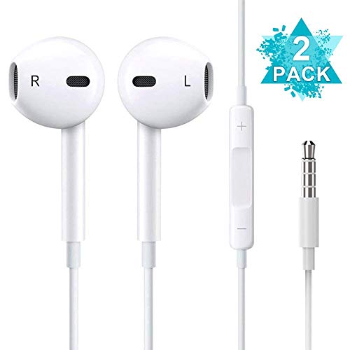 Headphones/Earphones/Earbuds, (2 Pack) JOVERS 3.5mm aux Wired Headphones Noise Isolating Earphones Built-in Microphone & Volume Control Compatible iPhone iPod iPad Samsung/Android / MP3 MP4