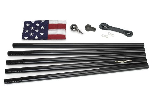 18' Nylon Outdoor Flag (Valley Forge Flag All-American Series 3 x 5 Foot Nylon US American Flag Kit with 18-Foot Black Steel In-Ground Pole and Hardware)