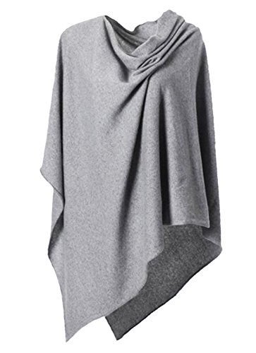 Anna Kristine Asymmetrical 100% Cashmere Draped Poncho Topper - Heather Gray by Anna Kristine