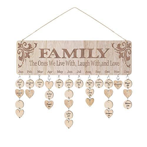 FamGift Presents for Moms Grandma, Wooden Family Birthday Reminder Calendar Board, Birthday Tracker Plaque Wall Hanging with Discs Tags for Home Classroom Bar Wall Decorative- Best Mom Gifts (For Best Grandma Presents)