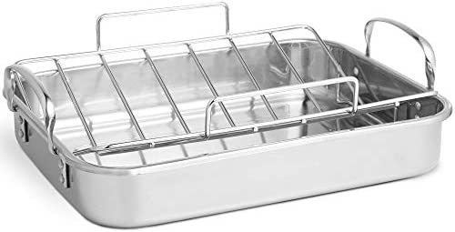 VonShef Stainless Steel Roaster Pan with Rack Ideal for Roasting Chicken Turkey Meat Joints Vegetables, 17 Inch, 8 Quart Capacity