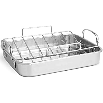 VonShef Stainless Steel Roaster Pan with Rack - Ideal for Roasting Chicken/Turkey/Meat Joints & Vegetables, 17 Inch, 8 Quart Capacity