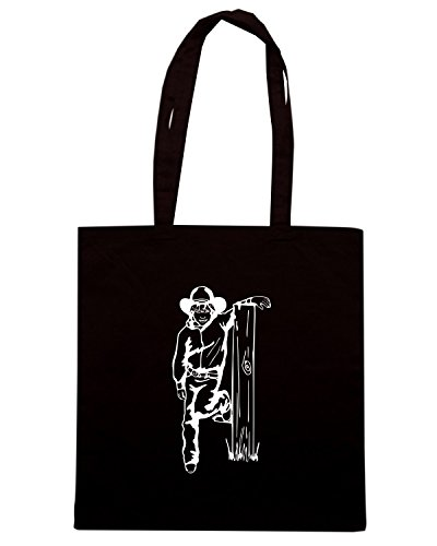 T-Shirtshock - Bolsa para la compra FUN1057 cowboy kids diecut vinyl decal sticker 5 42267 Negro