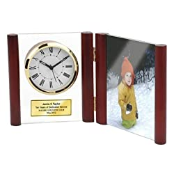 "Hinged Glass Book Clock in Rosewood Posts with Photo Frame Holds 4"" X 6"" Picture. Personalized Service Gift Retirement Award Employee Recognition Anniversary Wedding Appreciation Engrave Gift"