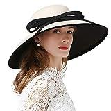FADVES Wide Brim Fascinators Hat Derby Church Floppy Tea Party Wedding Sun Hats Beige White