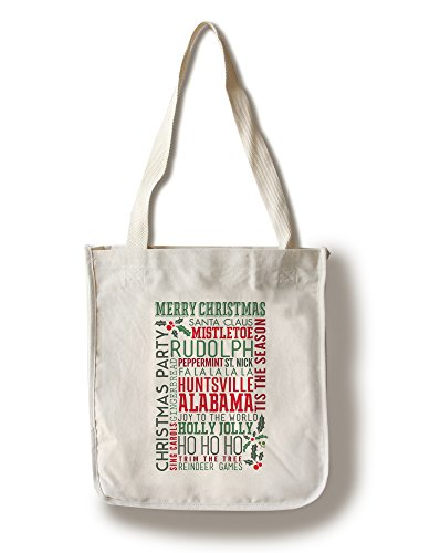 Huntsville, Alabama - Christmas Typography (100% Cotton Tote Bag - - Shopping Huntsville Alabama