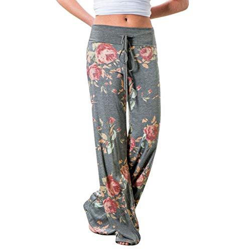 (lendly Women's Comfy Casual Pajama Pants Floral Print Drawstring Palazzo Lounge Pants Wide Leg High Waisted Trousers Gray)