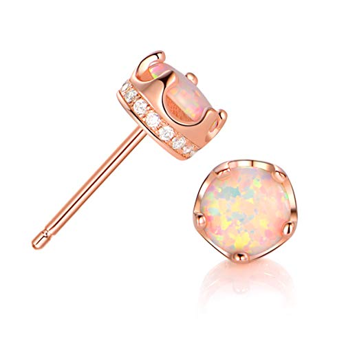 GEMSME Rose Gold Plated Opal And Cubic Zirconia Created Crown Stud Earrings 6mm