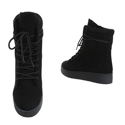 mujer cordones para Zapatos Ital de Design Plano Botines Botas Negro T4RFwq