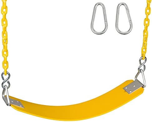 Yellow Commercial Rubber Belt Seat with 5Coated Chain /& SSS Logo Sticker Commercial Rubber Seat Coated Chain Swing Set Stuff Inc