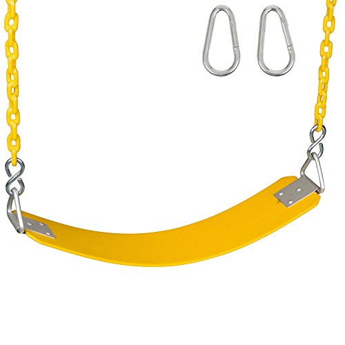 Swing Set Stuff Inc. Commercial Rubber Belt Seat with 5Coated Chain & SSS Logo Sticker Commercial Rubber Seat Coated Chain, Yellow
