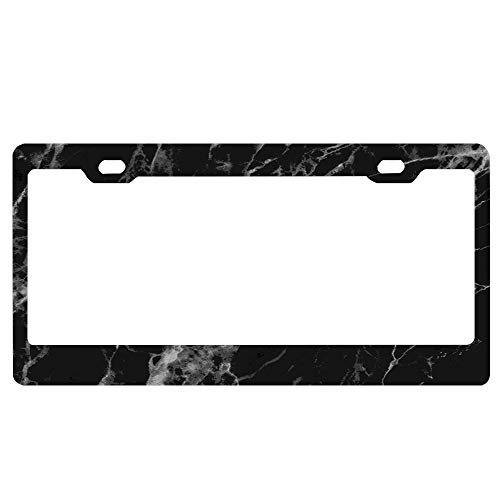 - YUMHlicenseplateframeLL Black and White Marble Texture Abstract Natural Marble Design Personalised License Classic Tag Decorative Front 12