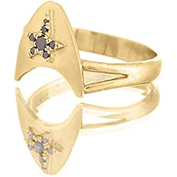 Yellow Gold and Black Diamonds Geek Engagement Ring for Women, Unique Artisan 14k and 18k Solid Gold Jewelry in Sizes US 5-8.75